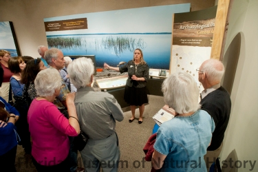 Donna Ruhl presenting at the Dugout Canoes exhibit