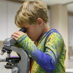 Kid looking through microscope