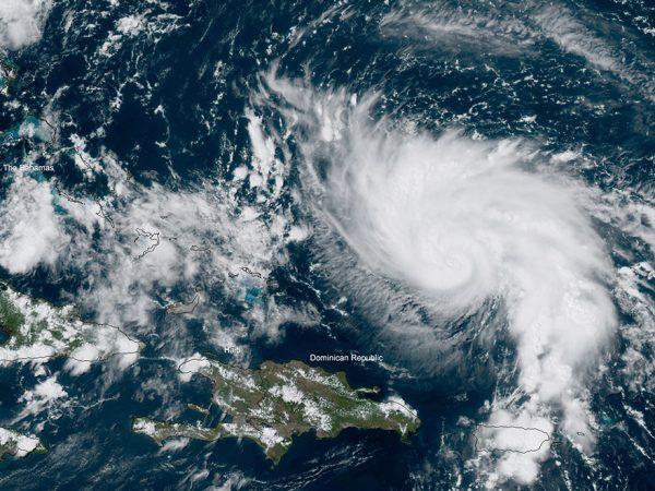 satellite photo of hurricane dorian in atlantic ocean