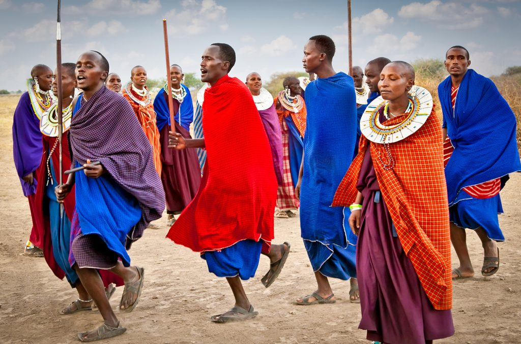 Masai warriors dancing in a traditional cultural ceremony, Tanzania
