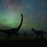 graphic of dinosaurs and a starry sky