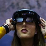 woman using virtual reality glasses
