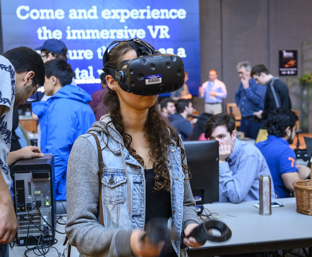 woman using virtual reality software
