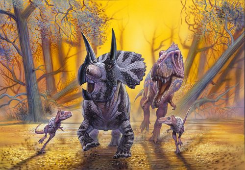 painting of 4 dinosaurs