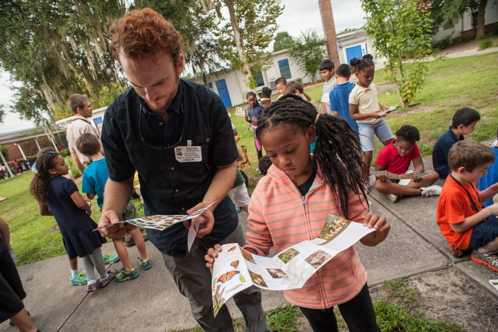 visitors learn about butterfly plants