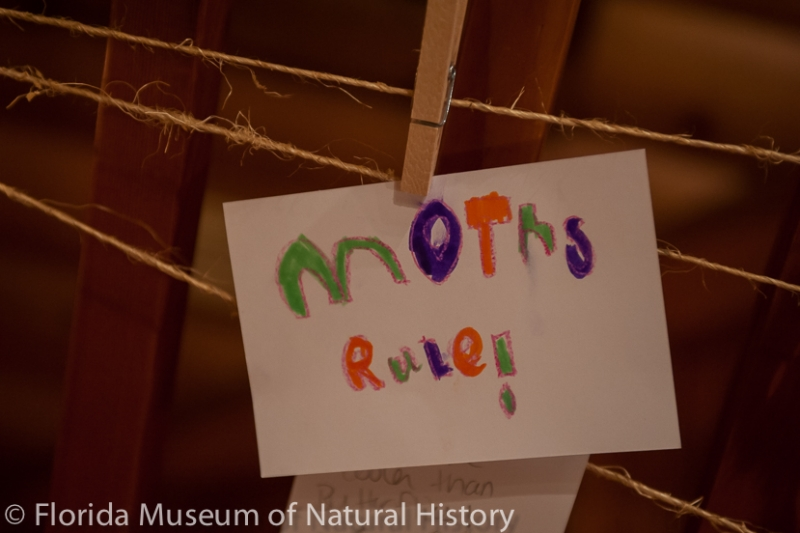 """sign with the words """"moths rule!"""" written in crayon"""