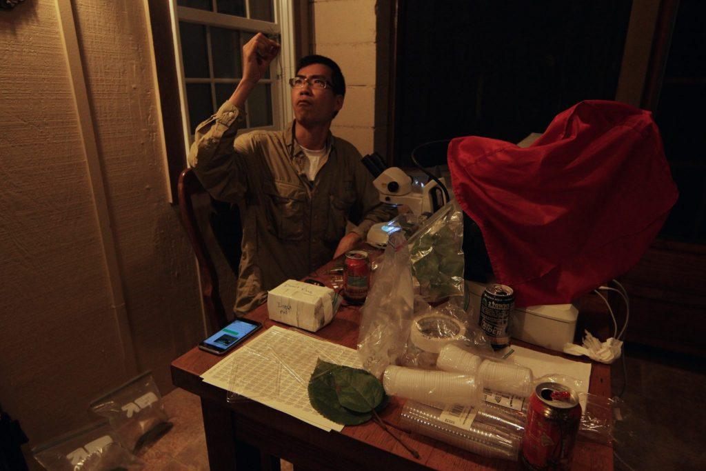 scientist examining specimen surrounded by equipment