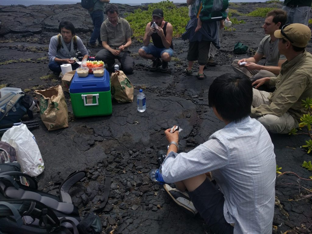 group eating lunch on black rocky outcrop