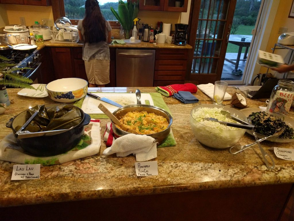 kitchen counter with various local foods