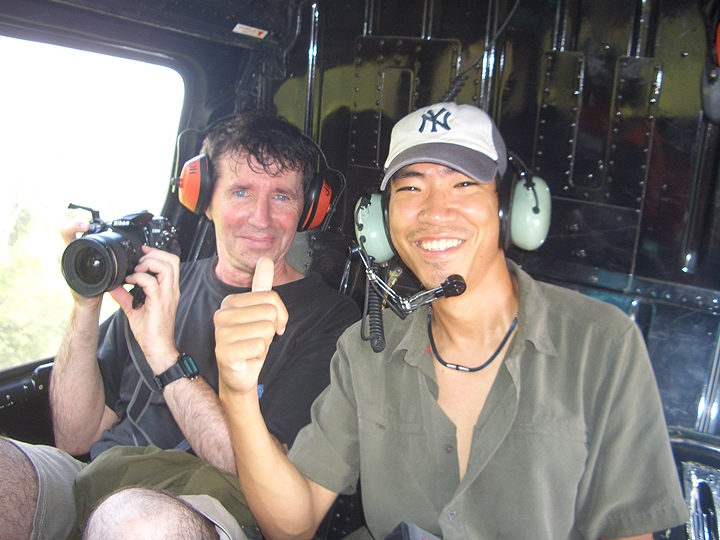David and Akito in helicopter