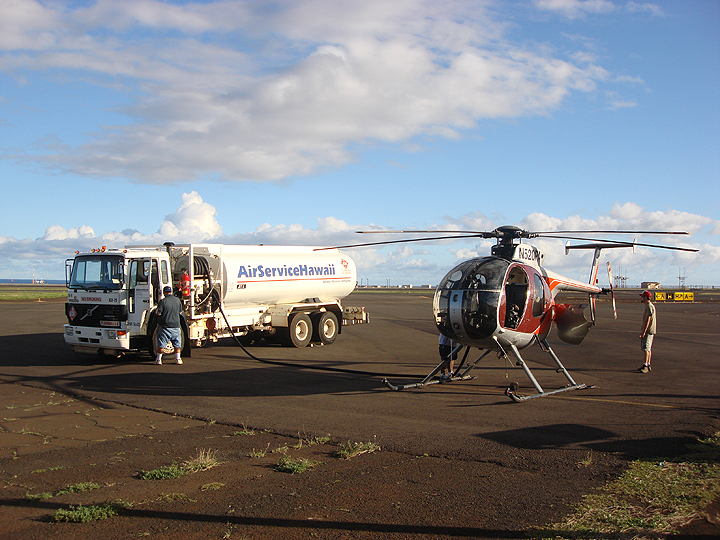 refueling the helicopter