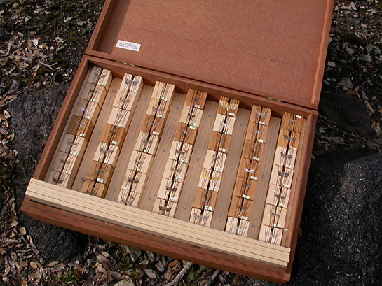 specimens in a wooden box