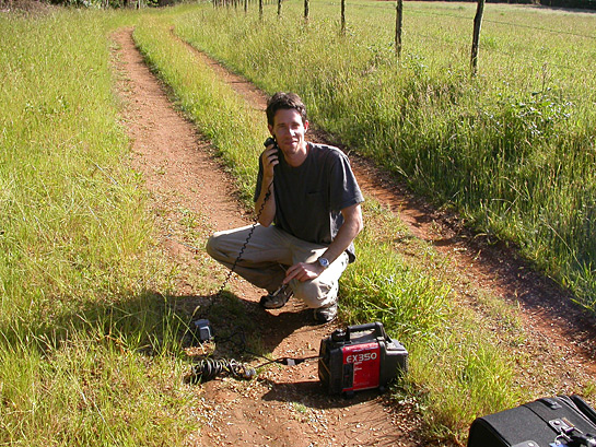 scientist operating a portable generator