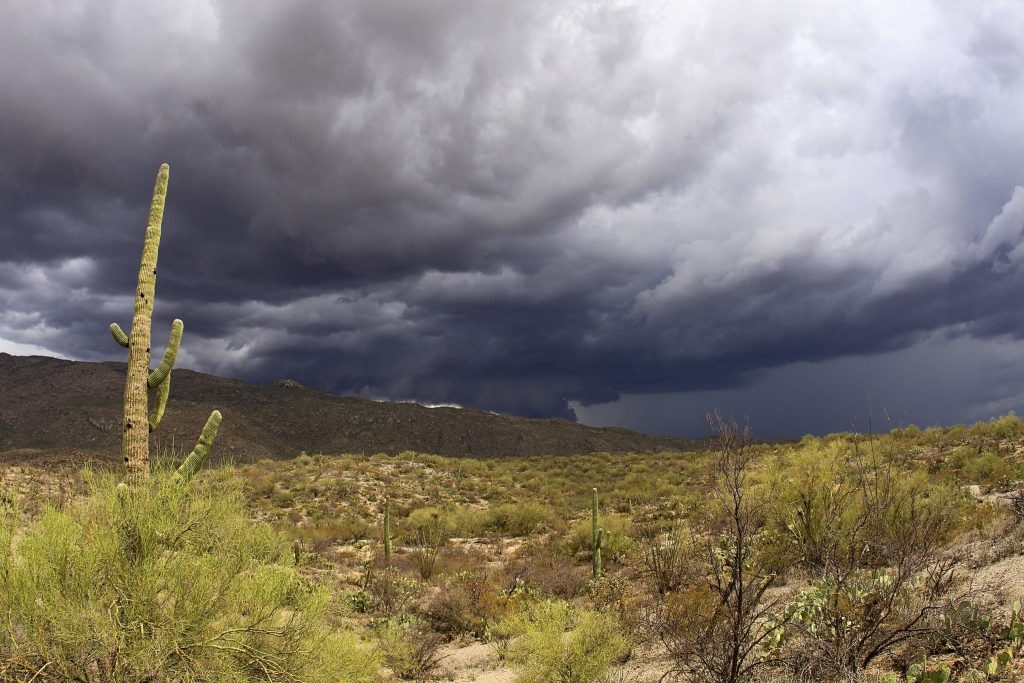 storm clouds gathering over desert in Arizona