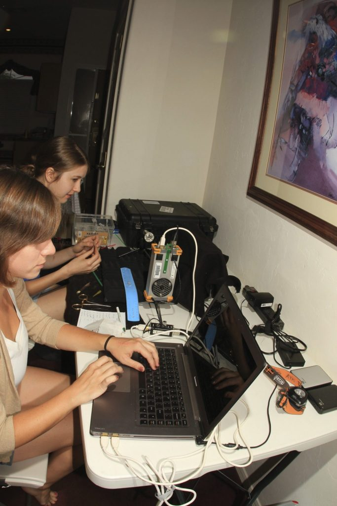 scientists working with equipment in hotel room