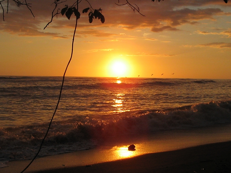 sunset at Costa Rican beach