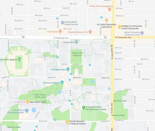 Hotels and Nearby Amenities – Florida United Malacologists 2019 on university of florida gainesville map, florida income map, hearted with the state of florida gainesville map,