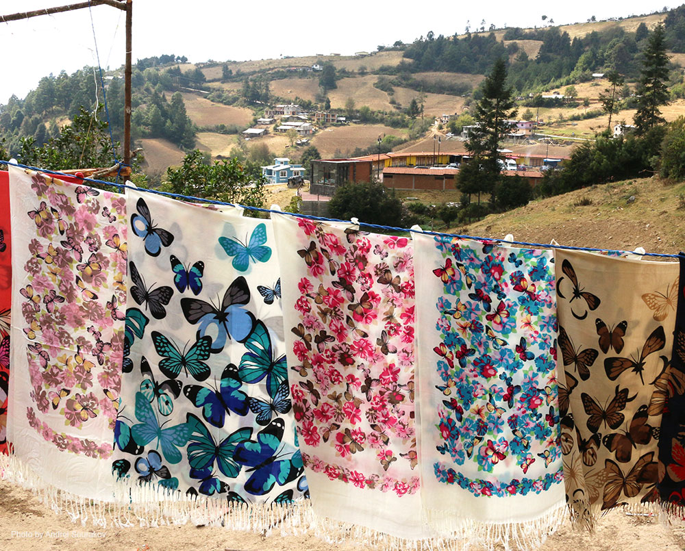 Shawls decorated with butterflies hang from a clothes line.