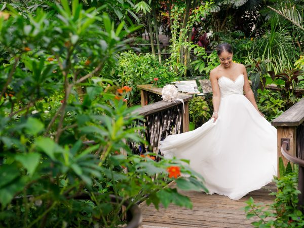 bride sitting in rainforest exhibit
