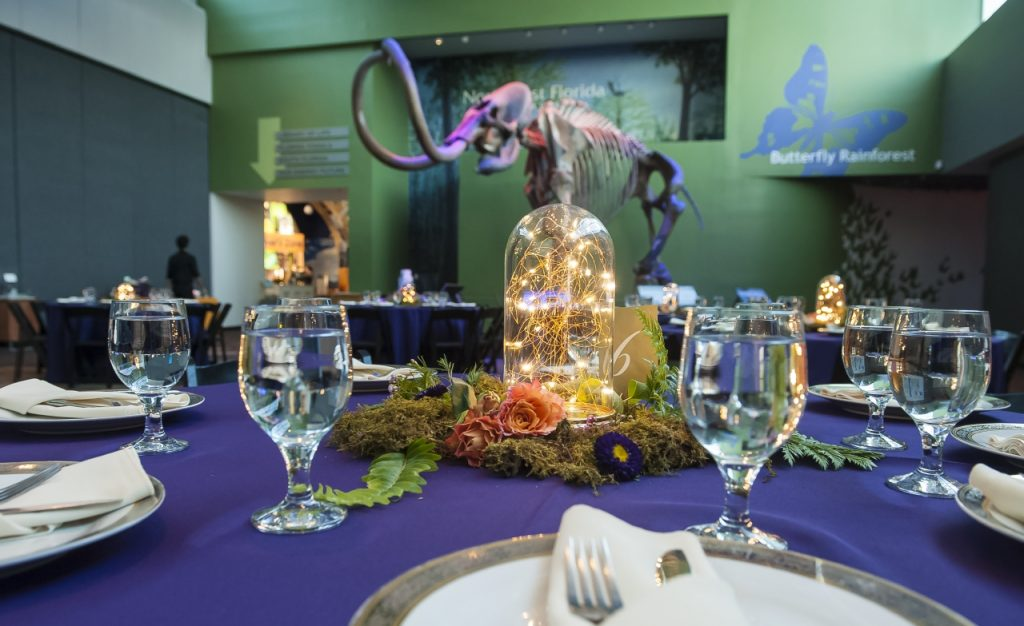 tables in Denny with purple linens and lighted dome centerpieces, looking toward the mammoth skeleton and Galleria