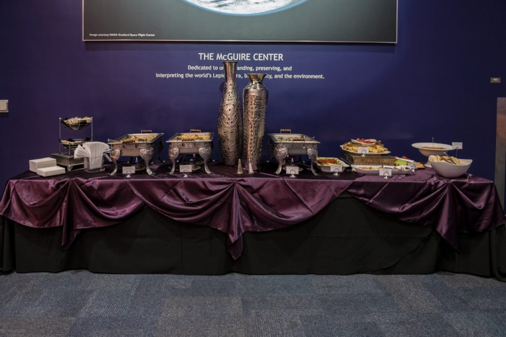 Appetizer table with dark purple linens underneath photo of the Earth in Thompson