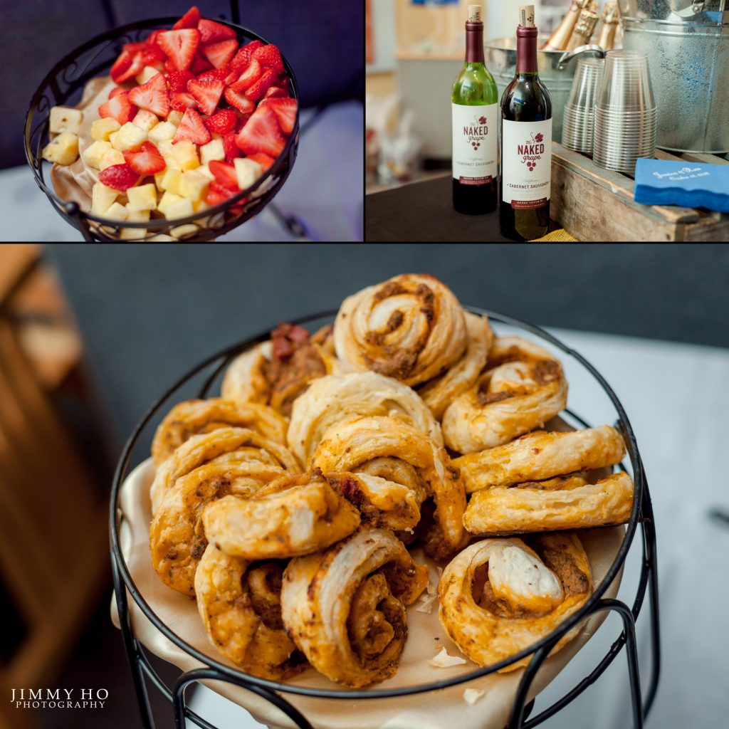 fruit, pinwheel treats, and wine served by Celebrations Catering