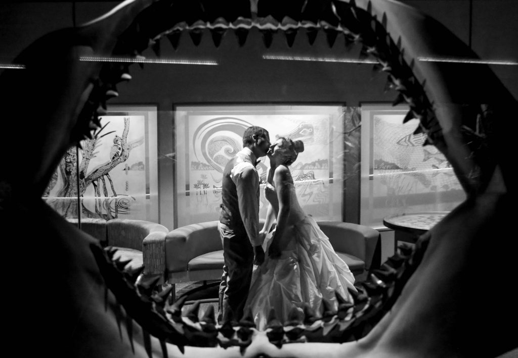 bride and groom kissing, as seen through the jaws of an extinct shark