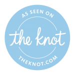 As Seen on The Knot, white text in a light blue circle