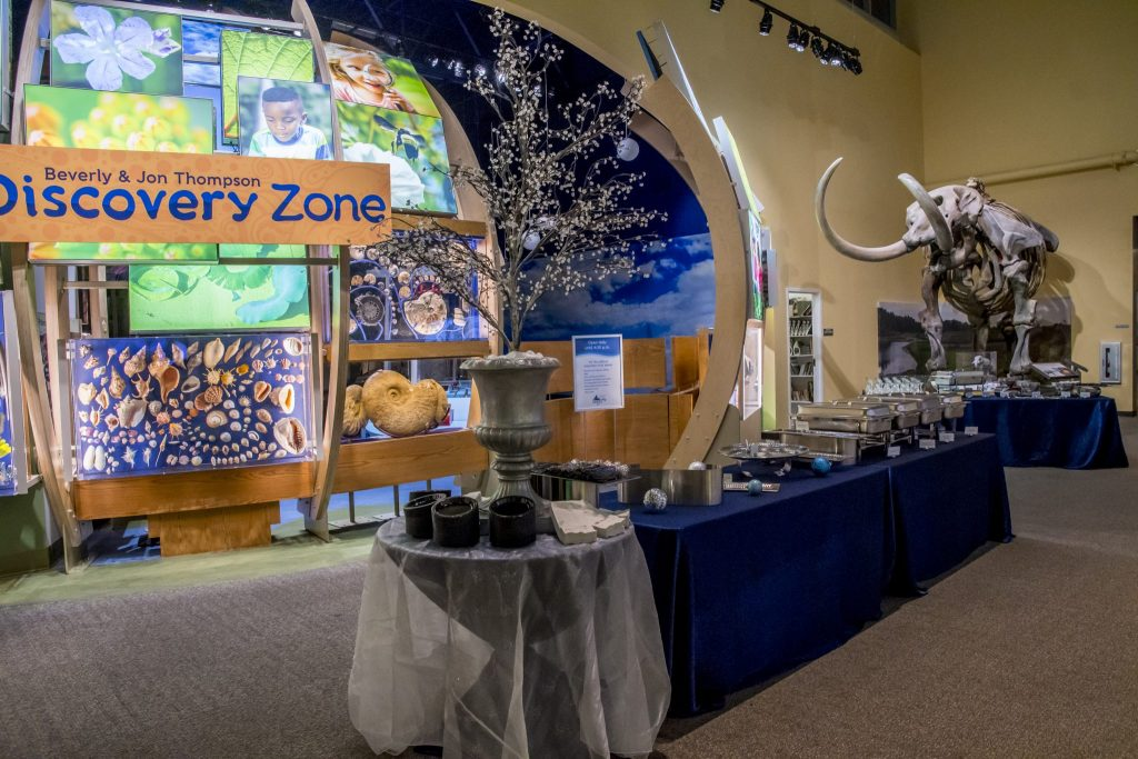 Buffet set up in front of Discover Zone, blue and white color scheme.