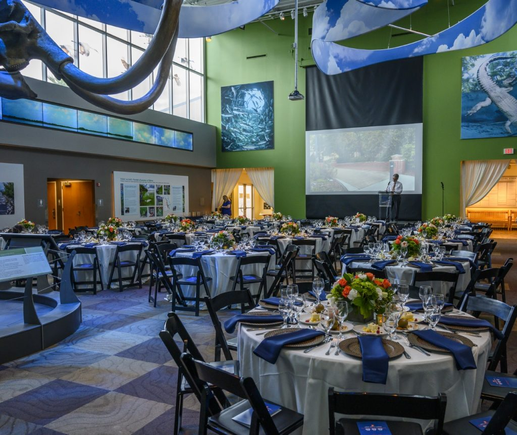Denny Gallery viewed from the back of the room. Screen is down and tables have cream linens with dark ble napkins and orange and white floral centerpieces.