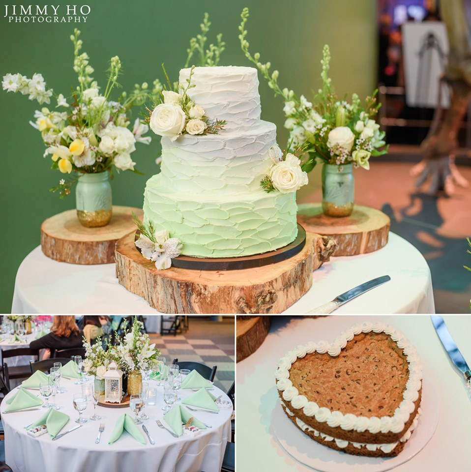 Collage of images of the wedding cake (ombre white to seafoam green) and groom's cake (chocolate chip cookie cake in the shape of a heart).