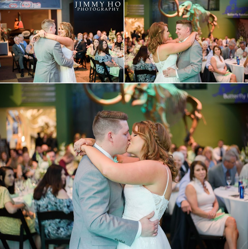 Collage of images of bride and groom dancing and kissing in front of an onlooking audience. Mammoth skeleton lit in seafoam green in the background.