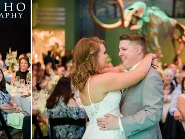 Two images from different angles of bride and groom dancing in front of onlooking guest adn a mammoth skeleton.