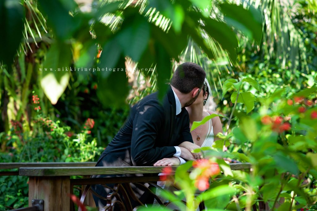Bride and groom kiss in Butterfly Rainforest exhibit, surrounded by foliage.