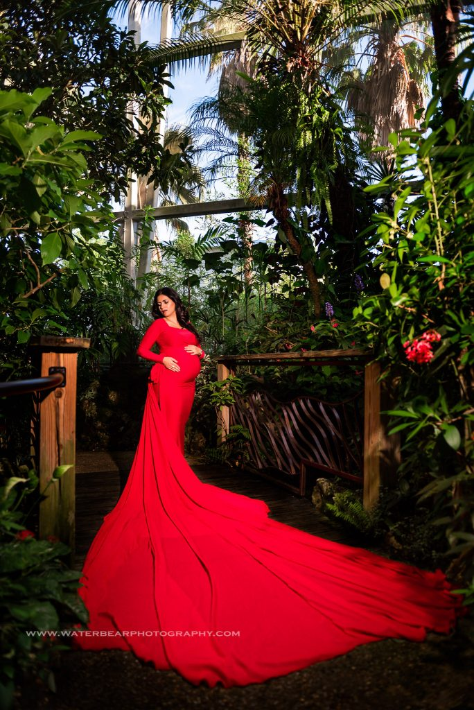 Pregnant woman stands in Rainforest path wearing bright red dress with long train spread in front of her