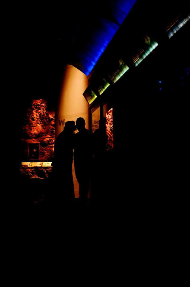 artistic shot of bride and groom kissing in the shadows, backlit by multi-colored lighting in the Fossil Hall exhibit entrance
