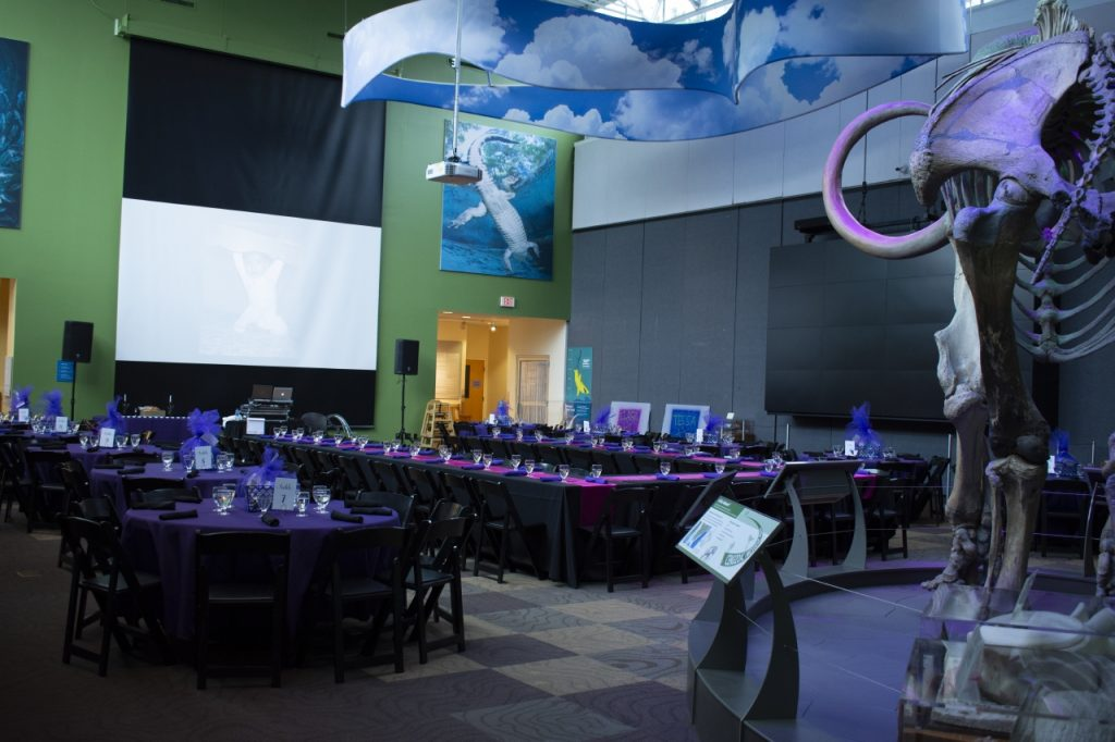 "Denny Gallery set with a rectangular U-shape surrounded by 60"" round tables, in a color scheme of pink and purple. Screen and speakers in background."