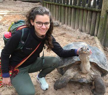 person kneeling next to a Tortoises