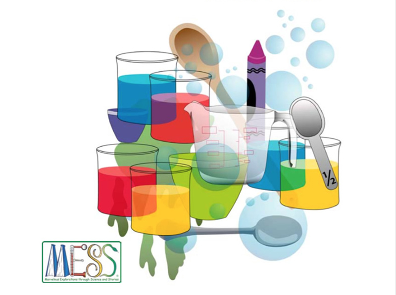 drawings of liquids of various colors in glass jars, measuring cups, and spoons