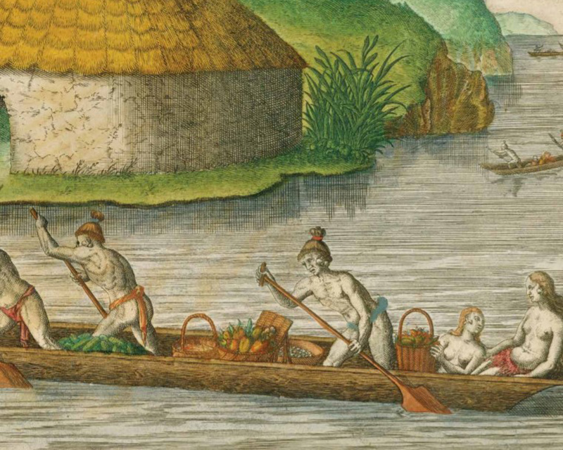 drawing of five people in dugout canoe