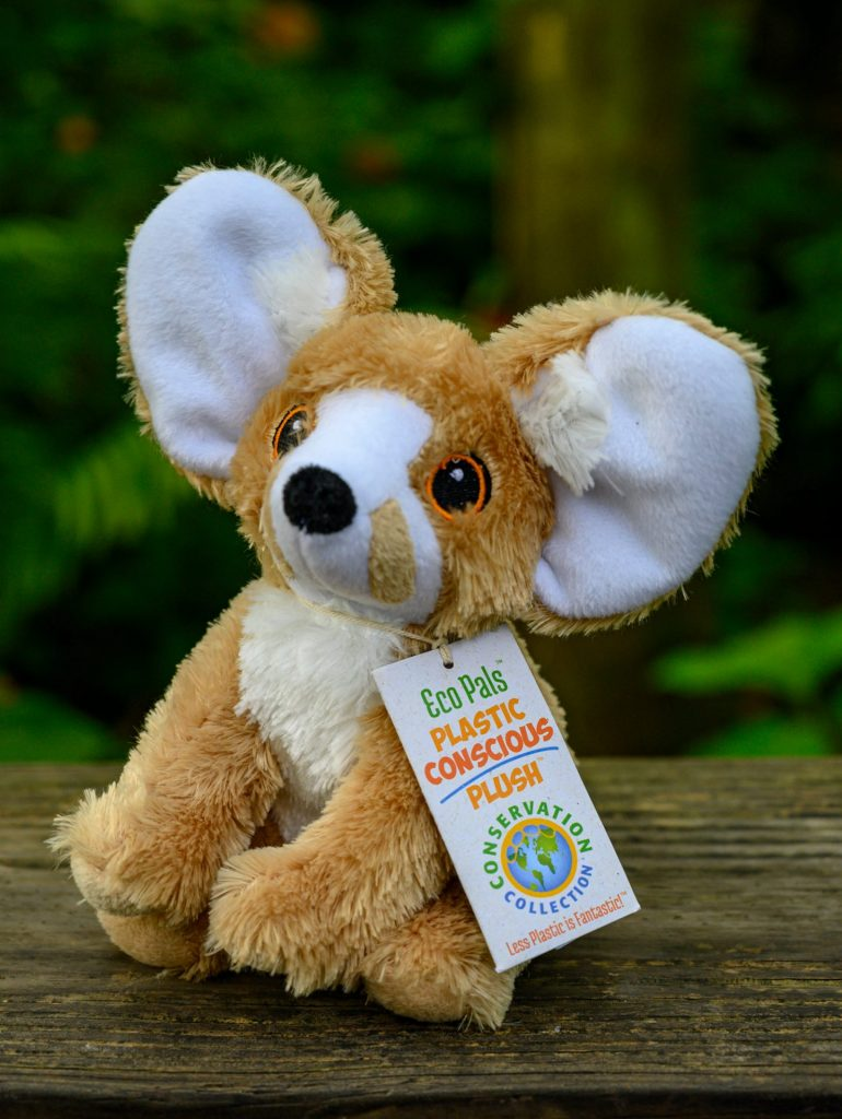 brown plush fox toy with big ear