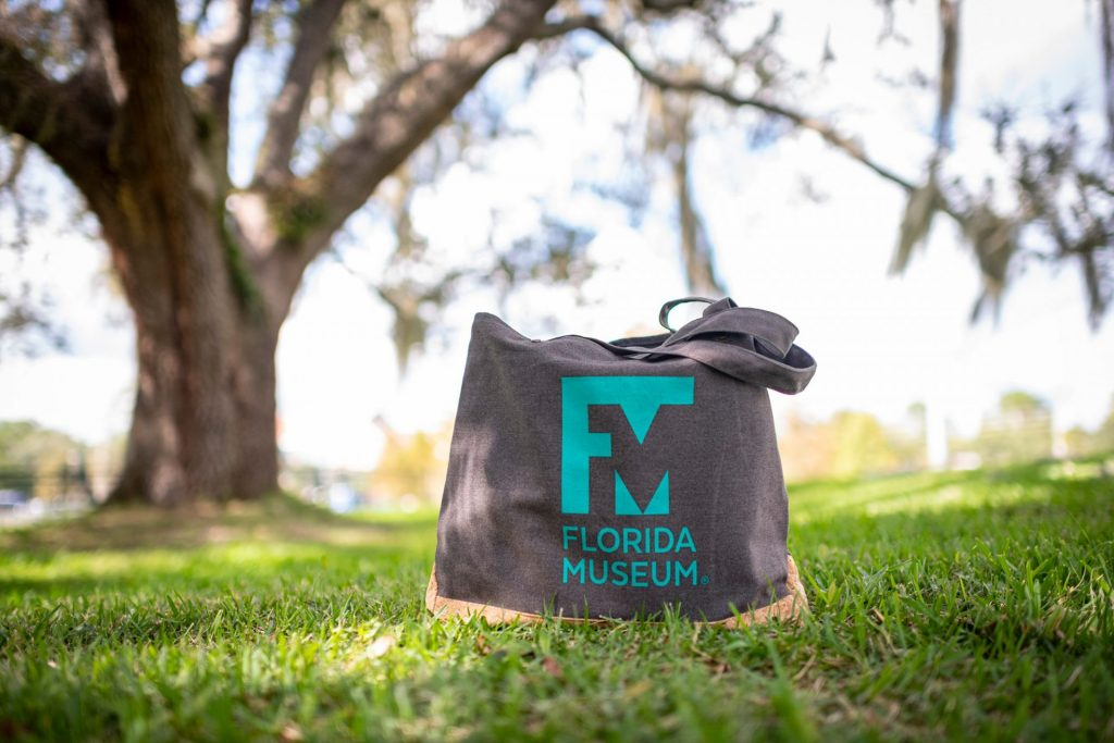 dark tote bag with museum logo sitting on grass under a tree