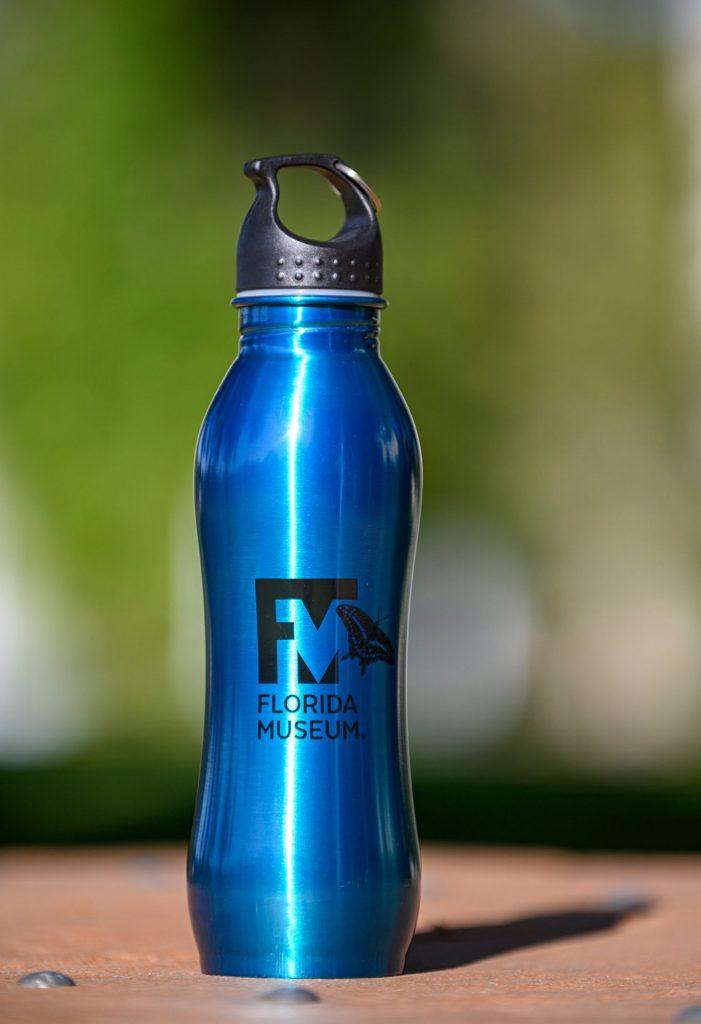 blue aluminum water bottle