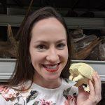 Rachel Narducci holding specimen model.