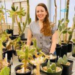 Bethany Zumwalde with several cacti