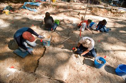 volunteers clearing sediment