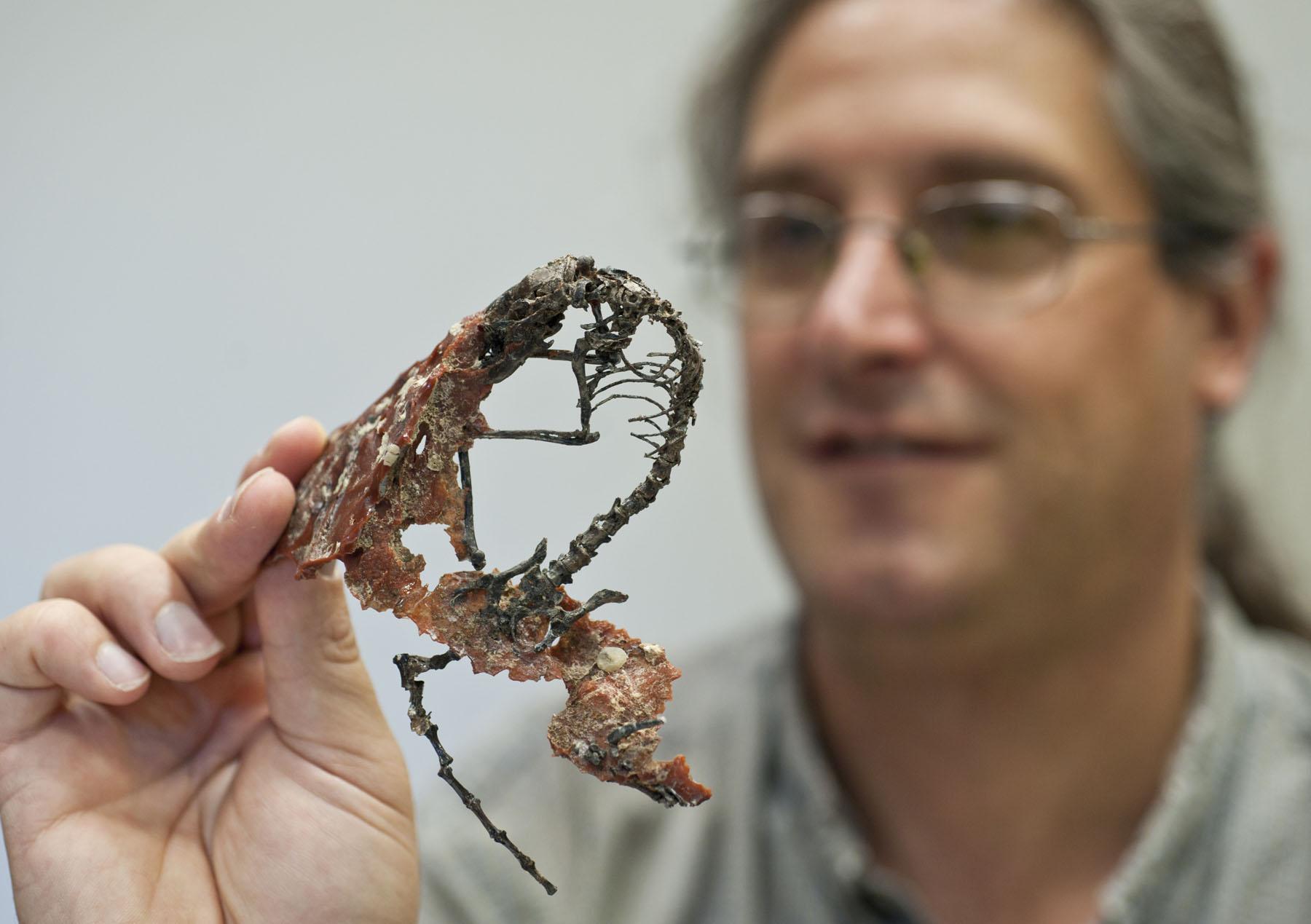 Jonathan Bloch holding skeleton