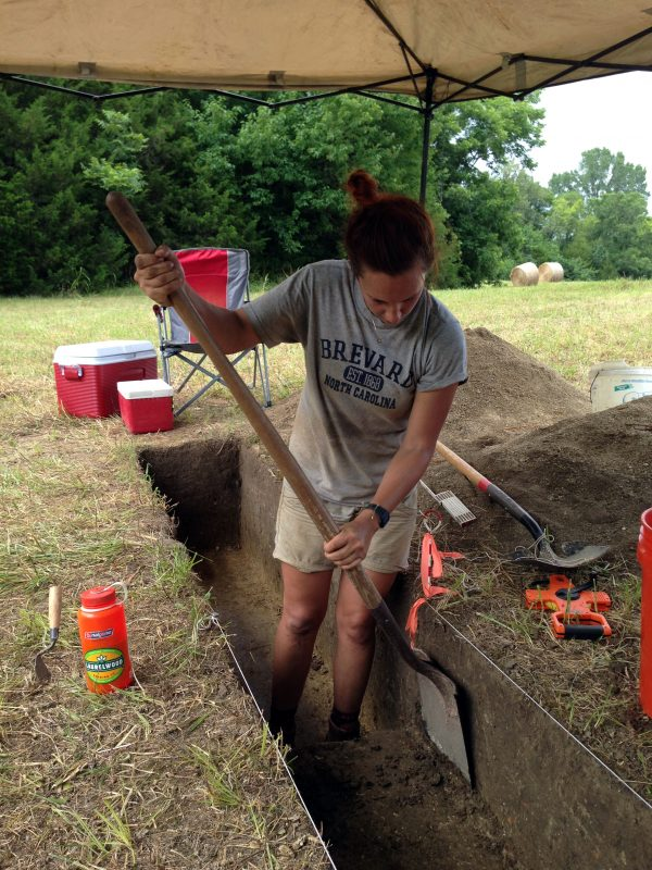 Anthropology student Kristen Hall digs during the summer 2015 excavation