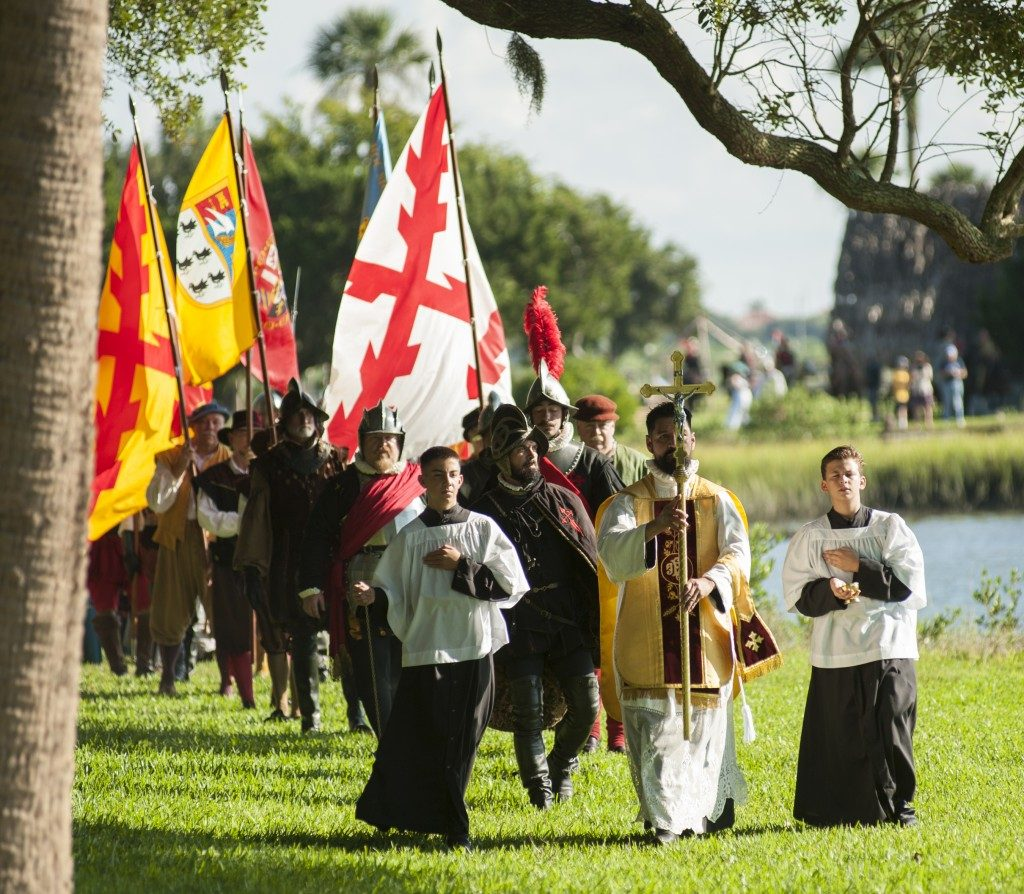 procession of conquistadors and settlers