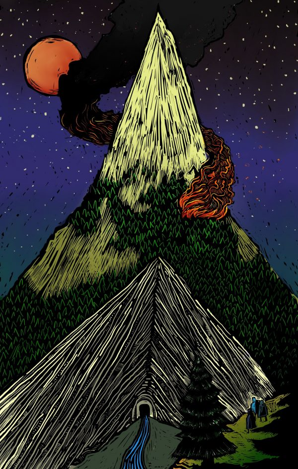 illustration of the lonely mountain from The Hobbit
